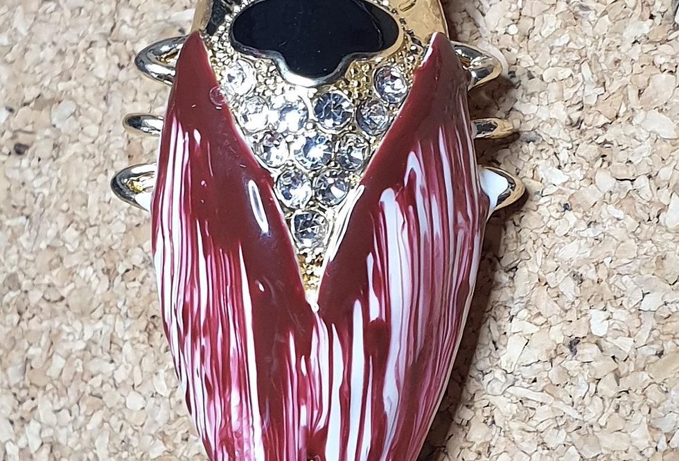 Cicada Brooch - Red