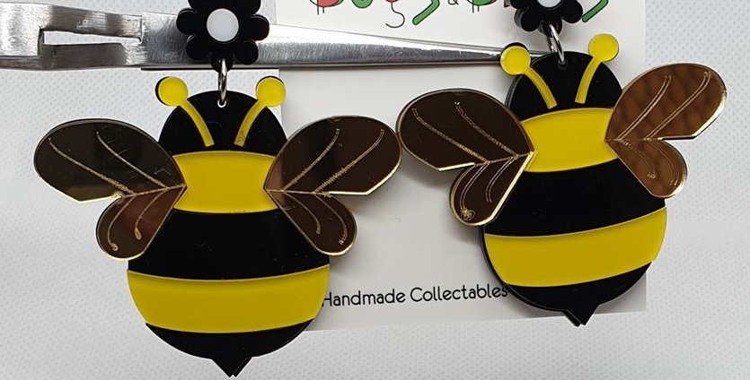 Bee Large acrylic earrings