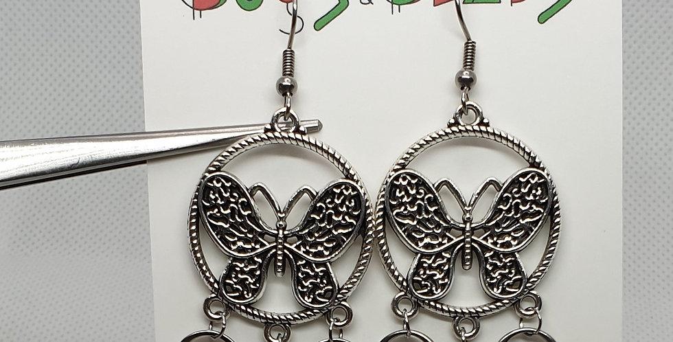 Large butterfly chandelier earrings