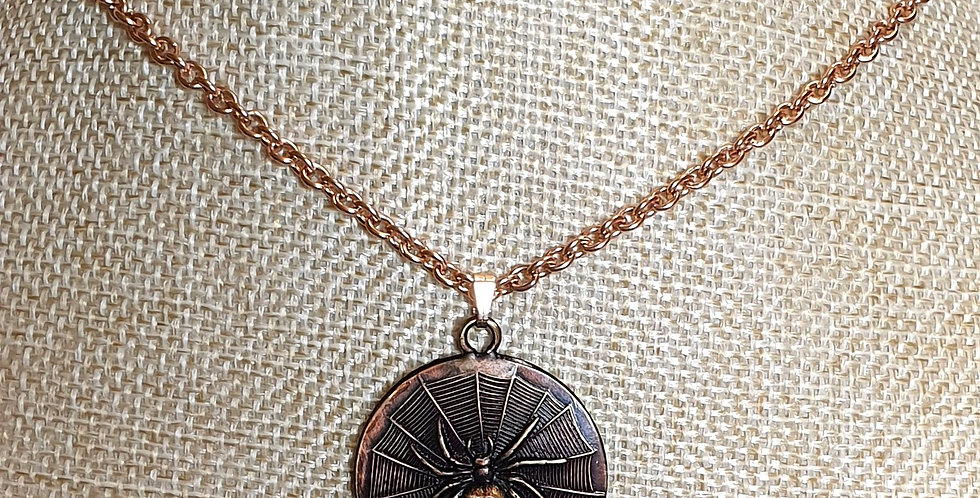 Spider on web necklace - Brass & Stainless Steel