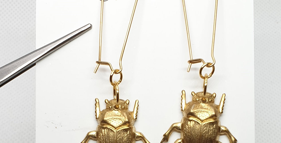 Dung Beetles on long hooks - Brass & Stainless Steel