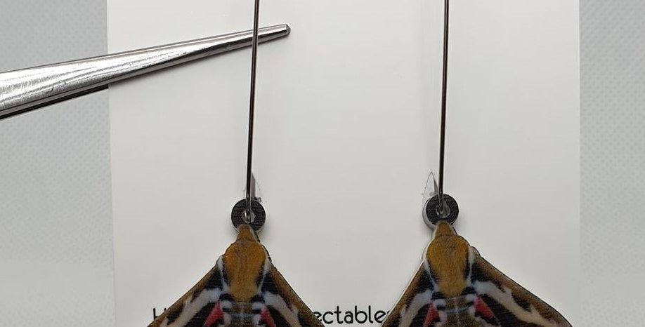 Striped Hawkmoth acrylic earrings