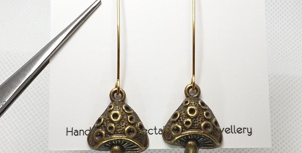 Bronze long marquise mushrooms earrings