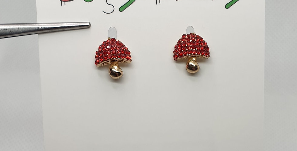 Red shiny mushroom stud earrings