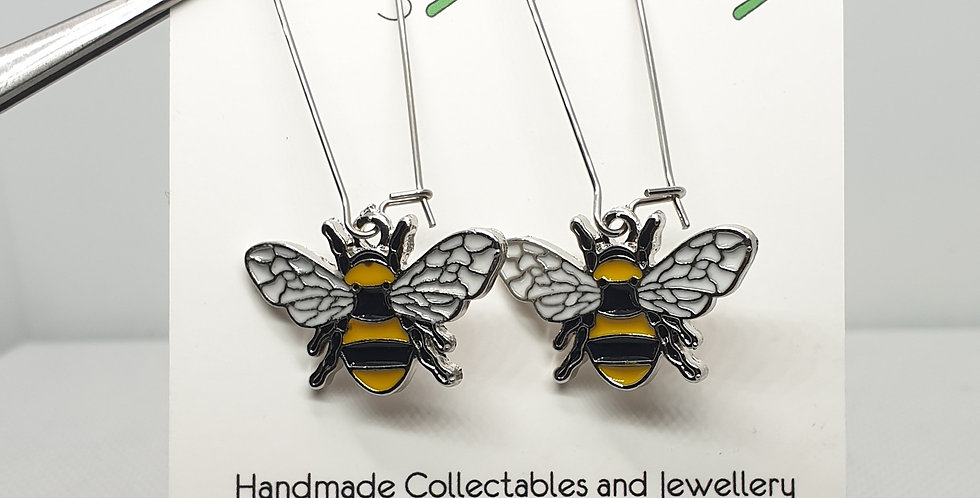 Silver Bee Long Earrings