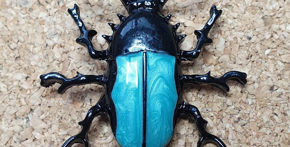 Black and Blue Beetle Brooch