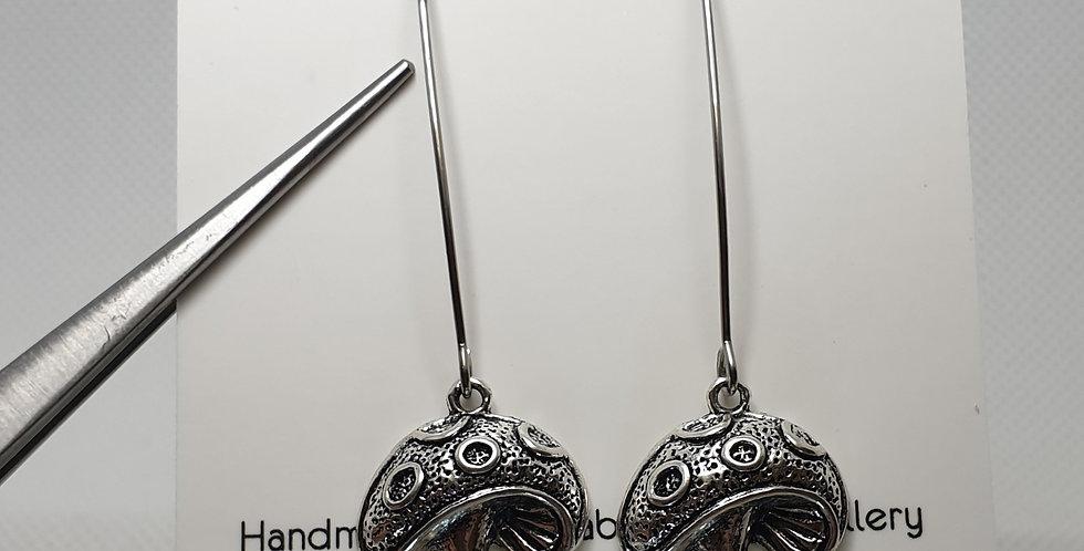 Long marquise mushrooms earrings