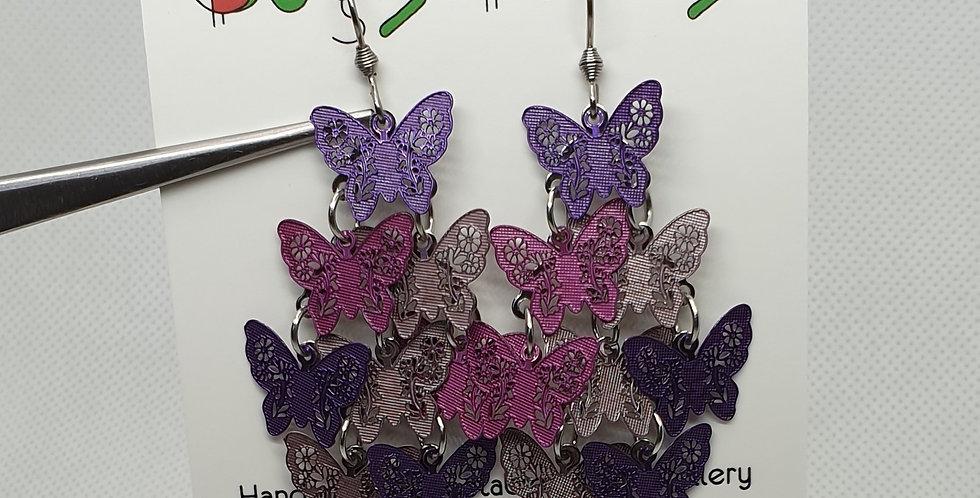 Purple Butterflies dangle earrings