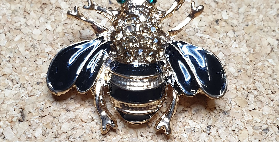 Bee Brooch - Black Wings Gold Body