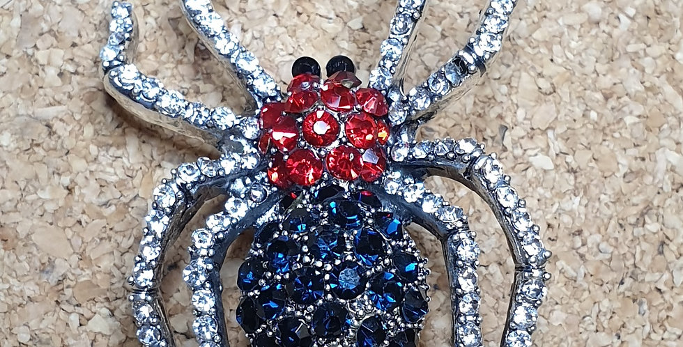 Spider Brooch - Blue & Red