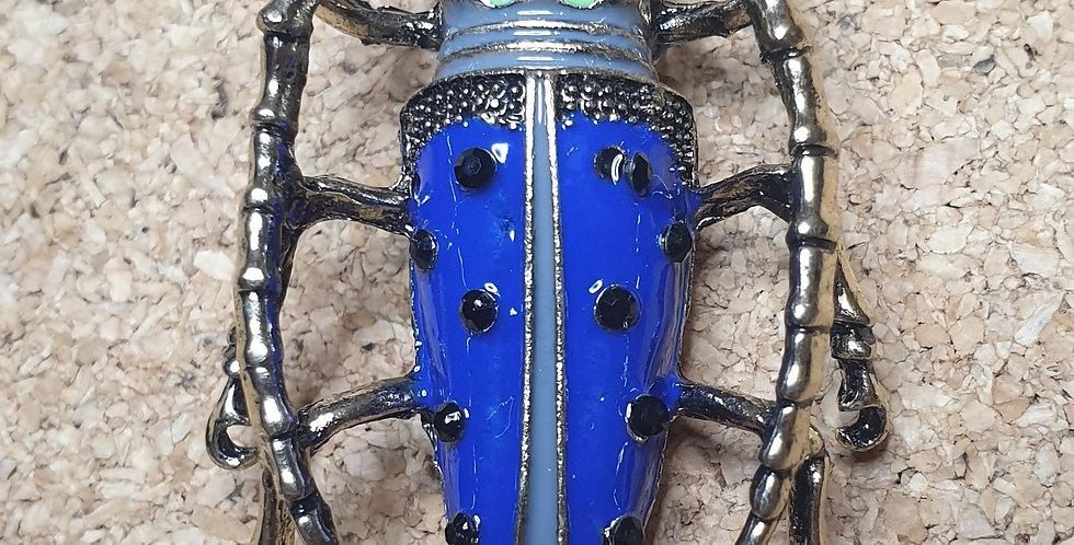 Longhorn Beetle Brooch - Light Blue