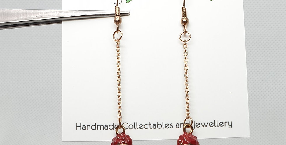 Mushroom on rose gold thread earrings
