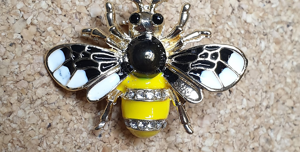 Bee Brooch - Black&White Wings