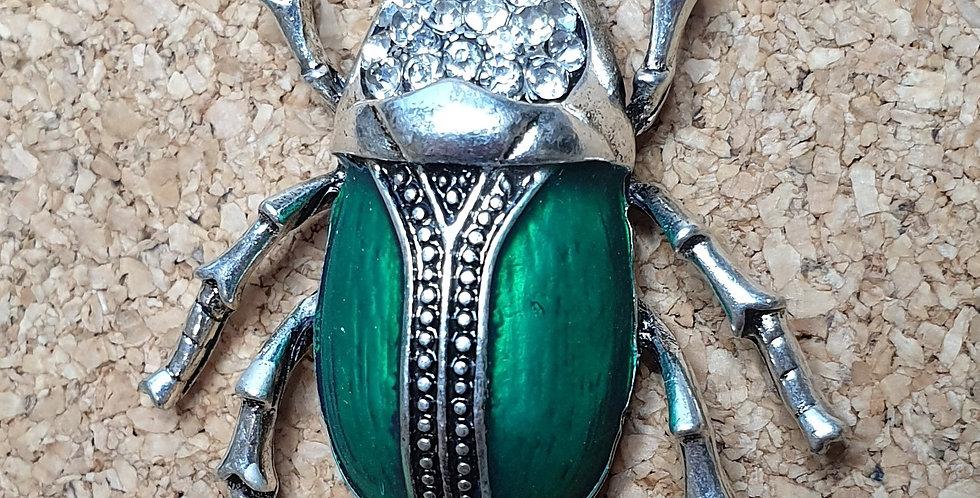 Rhino Beetle Brooch - Silver