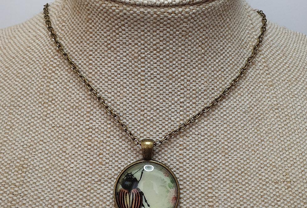 Orange & Black Beetle Necklace - Bronze