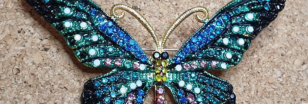 Butterfly Brooch  - Blue & Green