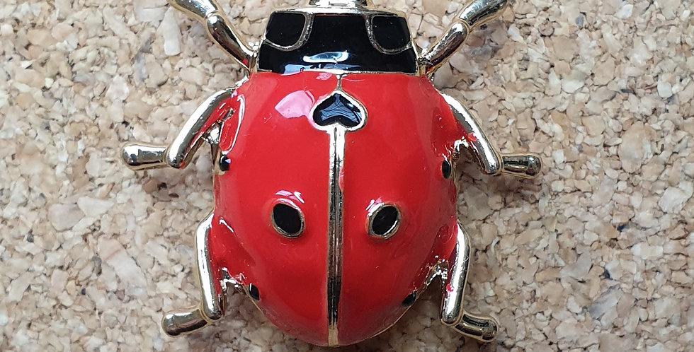 Ladybird Beetle Brooch - Red