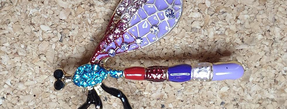 Dragonfly Brooch - Side, Purple
