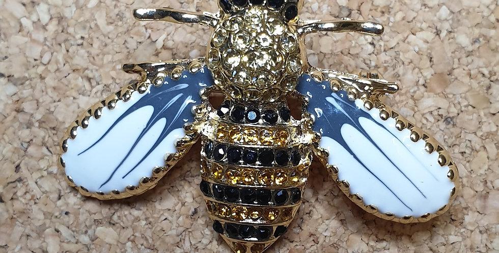 Bee Brooch - White Wings