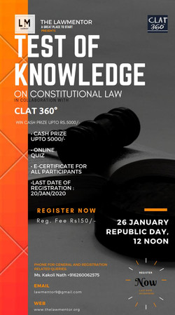 1st Test of knowledge is Law Mentor's Online National quiz competition on Constitutional law