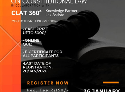 Test Of Knowledge on Constitutional Law by Law Mentor in Collaboration with CLAT 360° Prizes upto 5k