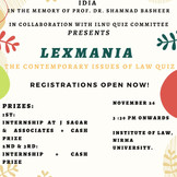 LEXMANIA: Law Quiz by IDIA Nirma Chapter at Nirma University, Ahmedabad [Nov 26]: Registrations Open