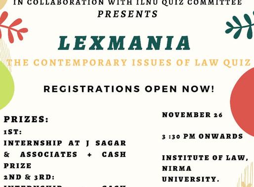LEXMANIA: Law Quiz by IDIA Nirma Chapter at Nirma University, Ahmedabad [Nov 26]: Registrations Open