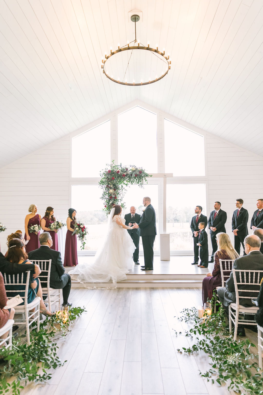 Burgundy and Ivory Ceremony Flowers