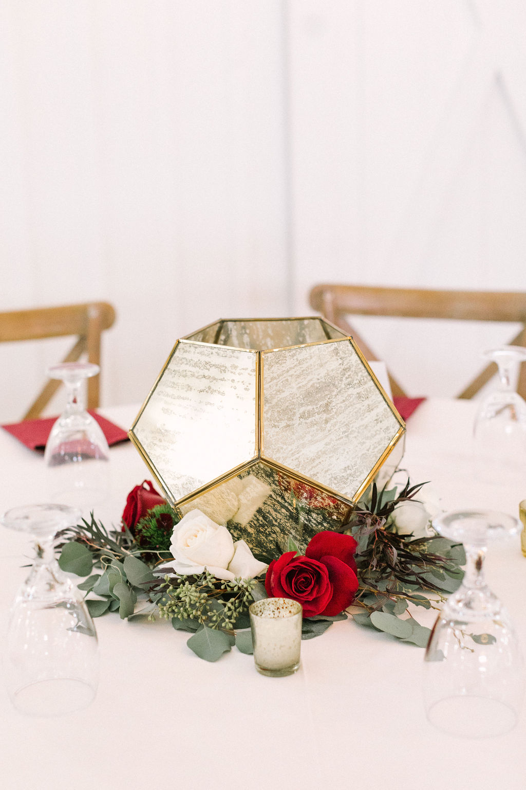 Burgundy and Ivory Centerpiece