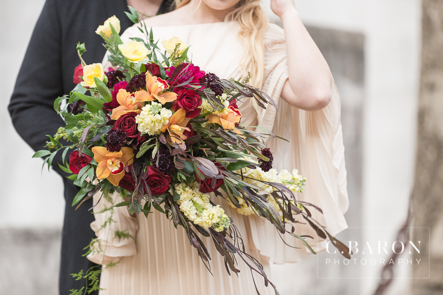 Cascade Bouquet In Jewel Tones