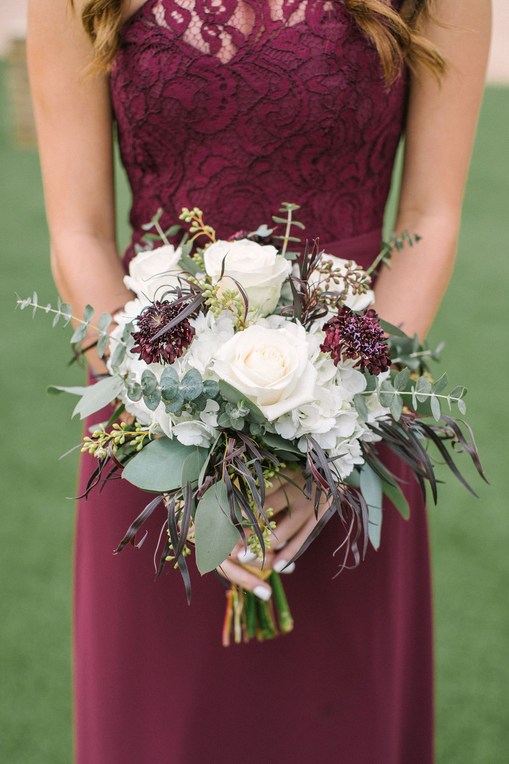 Bridesmaid Burgundy and White Floral