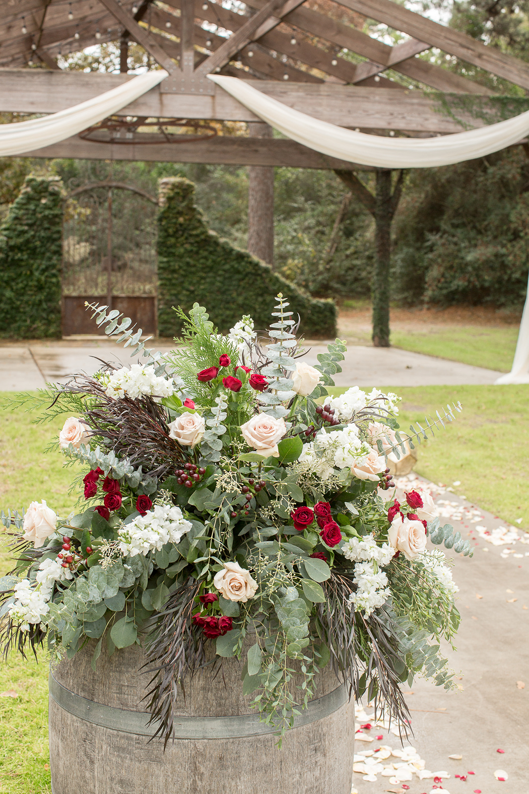 Burgundy and White Ceremony Flowers