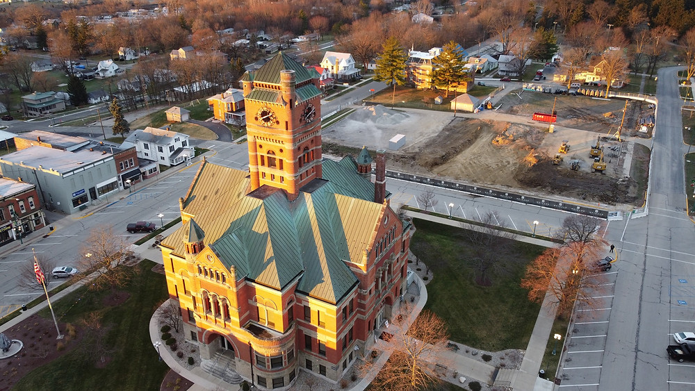 Drone view of Noble County Courthouse from the northeast side looking southwest.