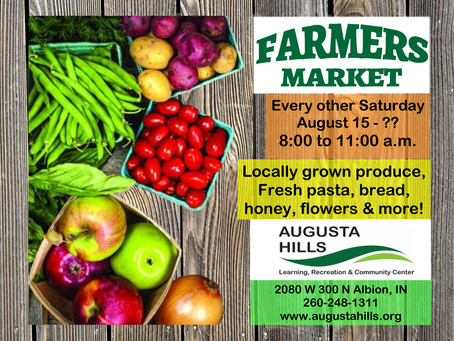 Farmers Market starts August 15, every other Saturday