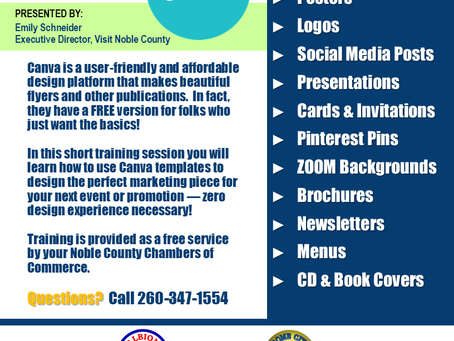Learn Canva with Visit Noble County's Emily Schneider