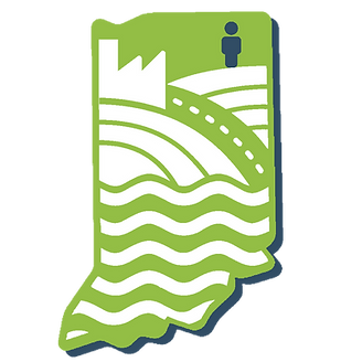 Noble County, marked by an icon of a person, is in northeastern Indiana, illustrated by a green map with white cutouts featuring industry, farming, transportation and waterways.