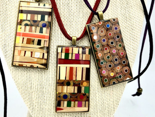 Abstract Colored Pencil Pendants
