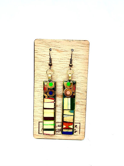 Cubist Inspired Colored Pencil Earrings
