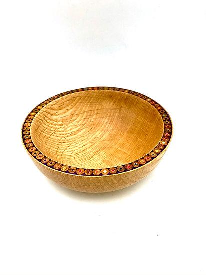 Oak Bowl with a Colored Pencil Rim
