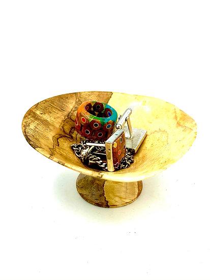Oak Burl Spice Bowl on Pedestal