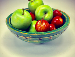 Green Fruit Wood Bowl