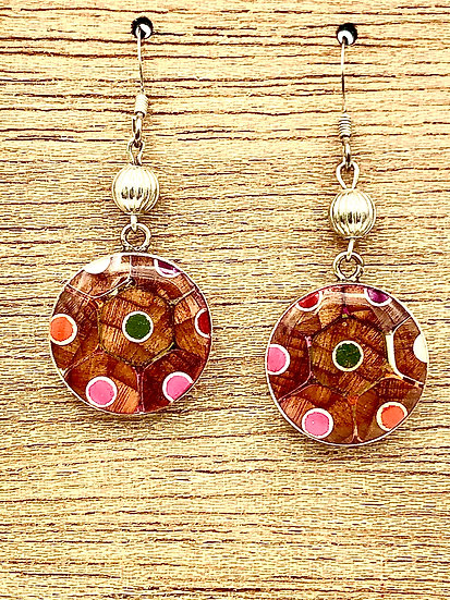 Round Colored Pencil Earrings