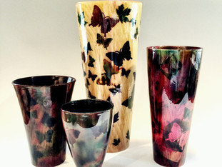 Painted Wood Butterfly Vases
