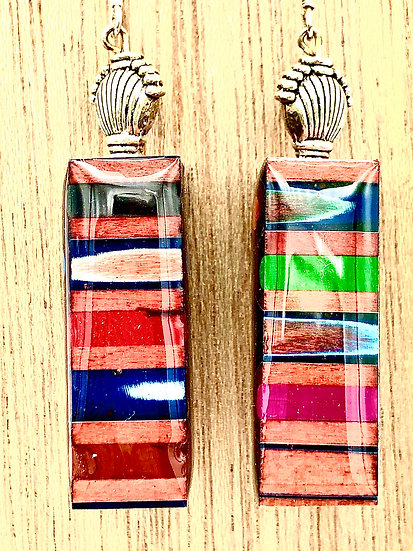 Colored Pencil Brick Earrings