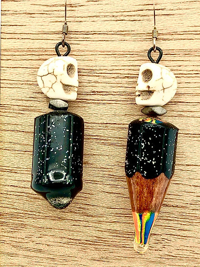 Skull Colored Pencil Earrings