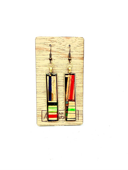 Mondrian Inspired Colored Pencil Earrings