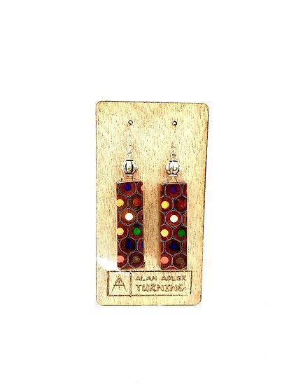 Brick Shape Colored Pencil Earrings