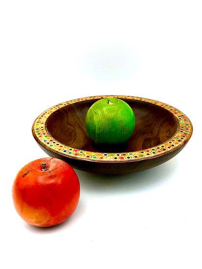 Walnut Bowl with Colored Pencil  Rim