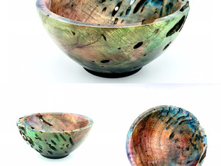 Airbrushed Oak Burl Bowl