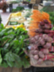 display of beets, carrots and chard